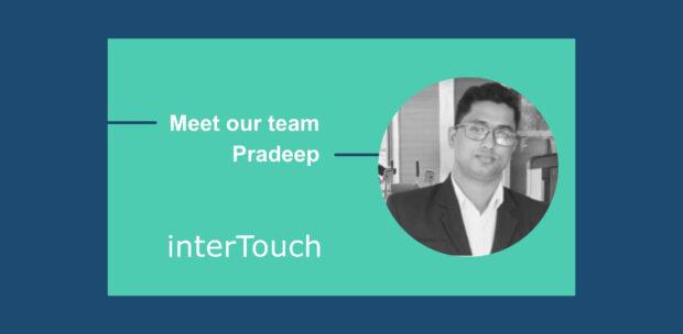 Website header for interTouch Meet our team - Pradeep